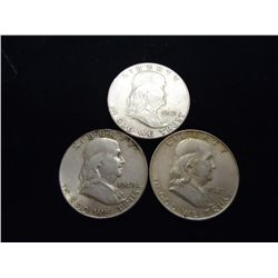 3 ASSORTED FRANKLIN HALF DOLLARS