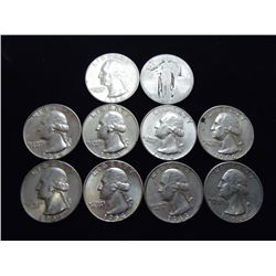 10 ASSORTED SILVER QUARTERS