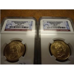 2010-P/D SMS PIERCE DOLLARS NGC MS67 2 SLABS