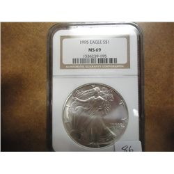 1995 AMERICAN SILVER EAGLE NGC MS69