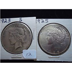 1923-S & 25 PEACE SILVER DOLLARS