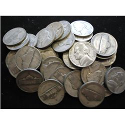ROLL OF 40 ASSORTED 35% SILVER JEFFERSON WAR NICKS