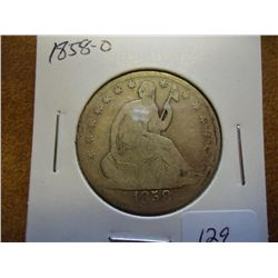 1858-O SEATED LIBERTY HALF DOLLAR
