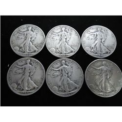 6 ASSORTED WALKING LIBERTY HALF DOLLARS