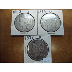 1879-O,82-O & 83-S MORGAN SILVER DOLLARS