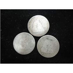 3 SEATED LIBERTY QUARTERS