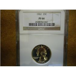 1962 WASHINGTON SILVER QUARTER NGC PF66