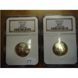 2003 P/D ILLINOIS QUARTERS NGC MS67