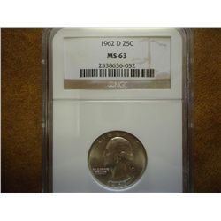 1962-D WASHINGTON SILVER QUARTER NGC MS63