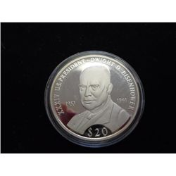 2000 LIBERIA SILVER $20 PROOF PRES. EISENHOWER