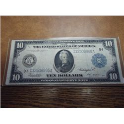 1914 LARGE SIZE $10 FRN BLUE SEAL