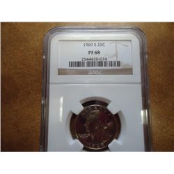 1969-S WASHINGTON QUARTER NGC PF68