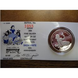1/2 TROY OZ. .999 SILVER DISNEY PROOF ROUND