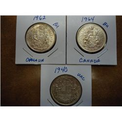 1940, 62 & 64 CANADA SILVER 50 CENTS (UNC)