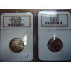 2001-P/D KENTUCKY QUARTERS NGC MS66 W