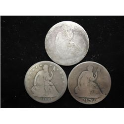 1856,58-O & 76 SEATED LIBERTY HALF DOLLARS