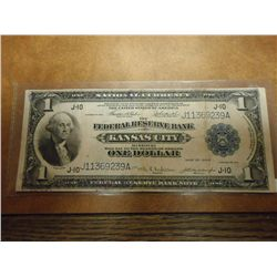1914 LARGE SIZE $1 NATIONAL CURRENCY KANSAS CITY