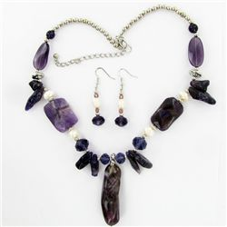Amethyst & Crystal Necklace Earring Set (JEW-3447)