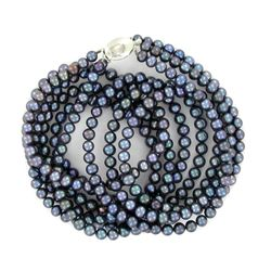 Black Saltwater Pearl Three Strand Necklace (JEW-250M)