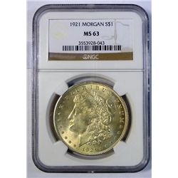 1921 MORGAN DOLLAR NGC MS-63