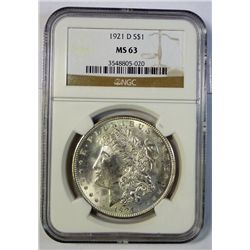 1921-D MORGAN DOLLAR NGC MS-63