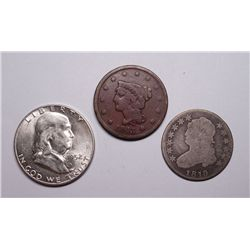 3 collector coins  1819 quarter Good--1843 large penny   Fine