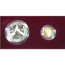UNITED STATES MINT 1988 OLYMPIC COINS PROOF SILVER DOLLAR & GOLD $5