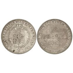 Thaler. - 1841. - GUILLERMO II. - HESSE-CASEL. - AR. (Golpecitos). KM-587. MBC-. - -