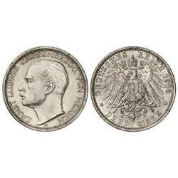 3 Marcos. - 1910-A. - ERNESTO LUIS I. - HESSE-DARMSTADT. - AR. (Leves rayitas en anverso). KM-375. E