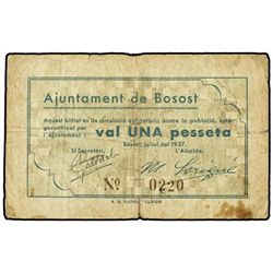 1 Pesseta. - Juliol 1937. - Aj. de BOSOST. - (Sucio). AT-505; T-595. MBC. - -