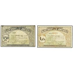 Lote 2 billets 50 cèntims i 1 pesseta. - 21 Març 1937. - Aj. de LA JONQUERA. - AT-1273,1277 ; T-1460