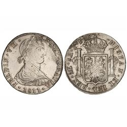 8 Reales. - 1811. - LIMA. - J.P. - Busto ind&#237;gena. (Rayitas de ajuste de peso. Limpiada. Leves oxida