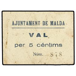 5 C&#232;ntims. - Aj. de MALDA. - Acento agudo en C&#233;ntims. MUY RARO. AT-1404a; T-1602. MBC. - -