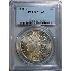 1886-S MORGAN DOLLAR PCGS MS-62