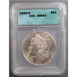 1898-S MORGAN SILVER DOLLAR, ICG MS 64 NICE!
