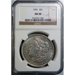 1901 MORGAN DOLLAR NGC AU-50