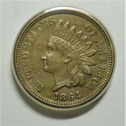 1864 CN INDIAN HEAD ONE CENT AU/UNC