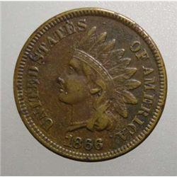 1866 INDIAN CENT XF ORIGINAL