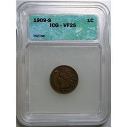 1909-S INDIAN CENT ICG VF-25