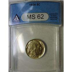 1924 BUFFALO NICKEL ANACS MS62