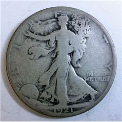 1921-D WALKING LIBERTY HALF DOLLAR VG