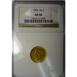 1906 2.50 LIBERTY GOLD NGC AU58 LOOKS CH BU