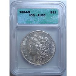 1884-S MORGAN DOLLAR ICG AU-50