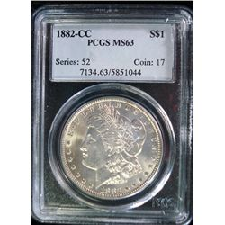 1882-CC MORGAN SILVER DOLLAR, PCGS MS63 ( BEAUTIFUL COIN )