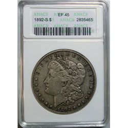 1892-S MORGAN DOLLAR ANACS EF-45