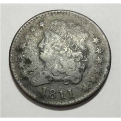 1811 HALF CENT FINE DETAIL WITH SOME CORROSION BUT