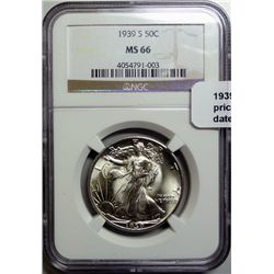 1939S Walker half $ NGC66  PCGS price guide = $600