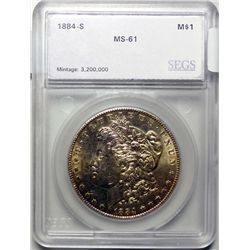 1884S   Morgan $  SEGS61  GS MS60 = $6250  63  = $30000