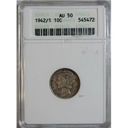 1942/1 MERCURY DIME ANACS AU-50 NICE!