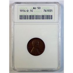 1914 D LINCOLN ONE CENT ANACS AU 50 NICE